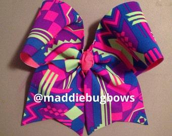 Neon Aztec Cheer Bow