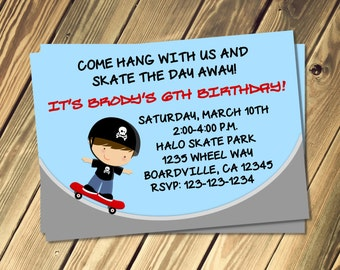 Skate Board Birthday Party Invitation Print Your Own
