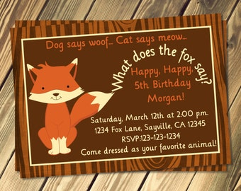 What Does The Fox Say Birthday Invitation Print Your Own