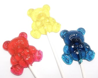 12 TEDDY BEAR LOLLIPOPS - Pick Any Color and Flavor