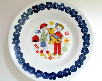 Vintage 1970s Inger Waage Norway Childrens Dish Bowl, Stavangerflint, Kennel Design, Figgjo Flint, Scandinavian Colorful Kids Cereal Bowl