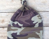Organic Cotton Baby Hat/ Baby Knotted Hat/ Organic Cotton Hat/ Knotted Cap/ Baby Hat/ Infant Hat / Camouflage