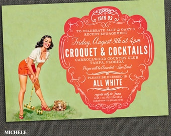 CROQUET Invite - Pin Up - Any Occasion - Adult Male Female - PRINTABLE or printed