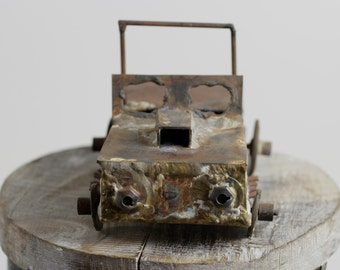 SALE... 30% OFF  Vintage Hand Made Welded Metal Jeep circa 1960s