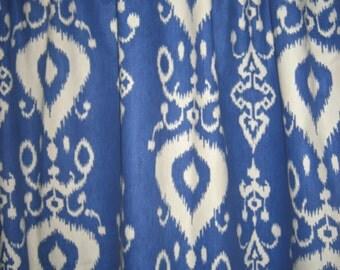 """Two 96""""L x 50""""W Custom Curtain Panels - Ikat - Orange, Grey, Ink , Blue or Tan"""