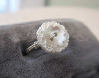 Pearl Button Ring, Vintage Style