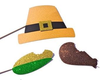 Thanksgiving Party Props - 3 piece set - Photo booth Props - Thanksgiving Photo Booth Props