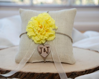 Yellow Carnation flower custom ivory burlap ring bearer pillow  shabby chic with engraved heart  initials... many more colors available