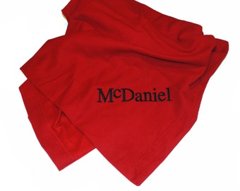 Monogrammed Stadium Blanket, Sweatshirt Blanket - 14 colors available