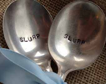 Hand Stamped Soup Spoons, Silver Spoons, Slurp Spoons, Hand Stamped Vintage Silverware, Vintage Soup Spoons, Stamped Silverware