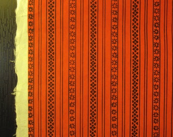 Vintage Japanese Yuzen Chiyogami Paper - Red-Orange with Black Linear Pattern.
