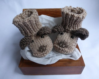 Baby Booties KNITTING PATTERN - Puppy Dog Baby Booties - PDF Instant Download