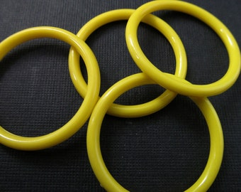 8 Vintage 35mm Bright Yellow Hoops Con249