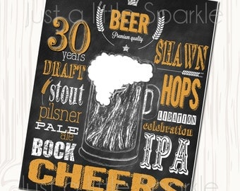 Beer Party Printable Sign, Cheers to 30 Beer sign, Chalkboard Beer sign, DIY Printable Beer Party sign