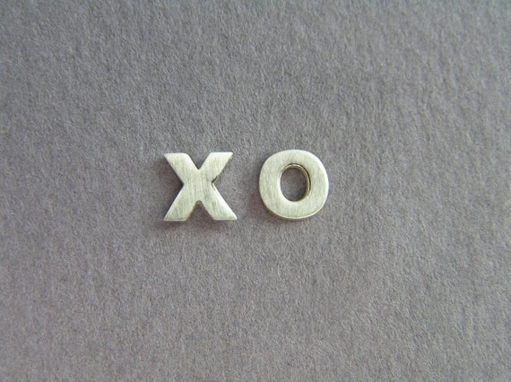 Silver Earrings - XO Studs - Hugs and Kisses - Hand Cut - Valentine's Day Gift