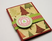 Gift Card Holder, Handmade, Happy Holidays, Christmas Trees, Red and Green, Embossed