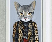 Framed Fine Art Print - Kat - Cats In Clothes by Heather Mattoon