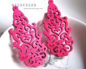 6 PCS - 30 x 63mm Pretty Hot Pink long Lace Style Wooden Charm/Pendant MH142 06