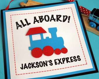 Train Birthday Party Door Sign in Red and Blue (Personalized)