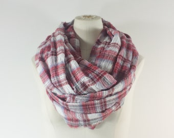 RED PLAID Infinity Scarf - Patriotic Eternity Scarf - Red White and Blue Cotton Gauze Loop Scarf
