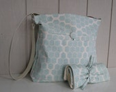 "Hive in Mint - Super Awesome Diaper Bag and Changing Pad Combo, Includes Stroller Straps and 3"" Rings"