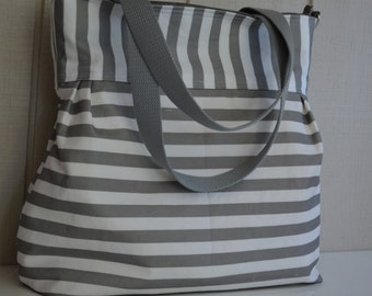 Diaper Bag Tote - Grey and White Stripes - Spoonflower Canvas - Large - Zipper, adjustable strap, tote handles