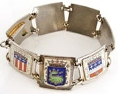 RESERVED for Jane Vintage French Enamel Shields Silver Plated Panel Bracelet Souvenir Loire Valley Region