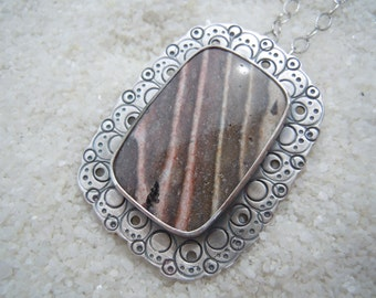 """Banded Rhyolite, Banded Rhyolite in Silver, Silver Metalwork Jewelry, Metal Lace, 18"""" sterling silver chain included"""