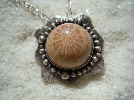 Fossil Coral Necklace, Fossil Coral Jewelry, Silver and Coral Jewelry, Fossil Jewelry