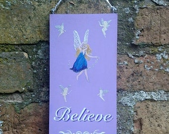 FAIRY FAIRIES BELIEVE Wooden Hanging Sign Plaque Glitter Girls Hand Painted Gift