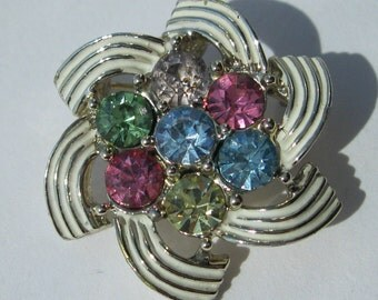 Rhinestone Brooch - Sarah Coventry 'Color Spray' - Over the Rainbow Pastels - Petite Gold-tone Brooch