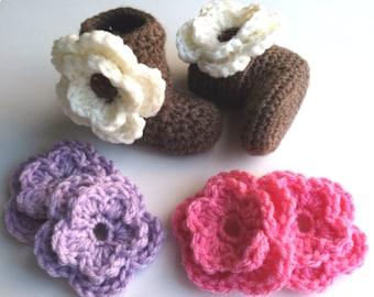 Baby Booties with Flower-Boots-Crochet-Girl-Newborn-Toddler