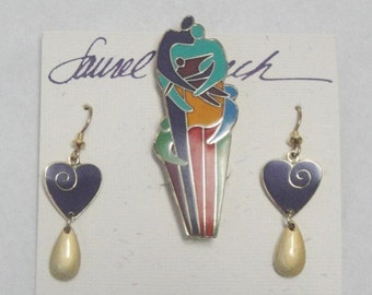 Laurel Burch LOVE and UNITY Earrings and Brooch SET - Retired Design - Vintage