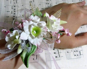 White Orchid Wrist Corsage with Lace - Handmade with Clay