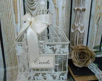 Small Wedding Birdcage Card Holder / Wedding Card Box / Wedding Wishes / Wishing Well / Wedding Decor / Birdcage Card Holder