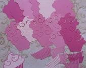 Pink / Pinks Cupcake shapes / Die Cut pieces made from cardstock paper for DIY Birthday Crafts Projects Cards