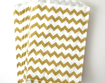 25 Medium Metallic Gold Chevron White Paper Bags, 5 x 7.5 inches
