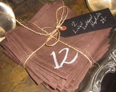 Linen Napkins Hand Painted and Numbered