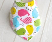 SPRING BIRDS Bandana Dribble Bib with Bamboo & Organic Cotton Fleece - A Great Baby Gift Idea by Cwtch Bugs
