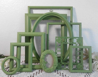 Grass Green Picture Frame Set Rustic Distressed Shabby Chic Baby Nursery Photo Gallery Collection Country Cottage Home Decor Shower Gift