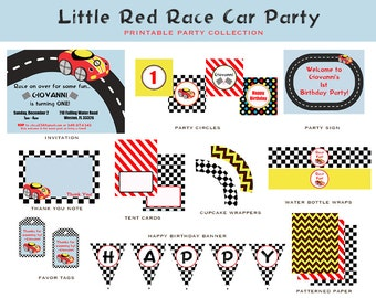 LITTLE RED CAR Birthday Complete Collection (Red Car Invite and Decorations)