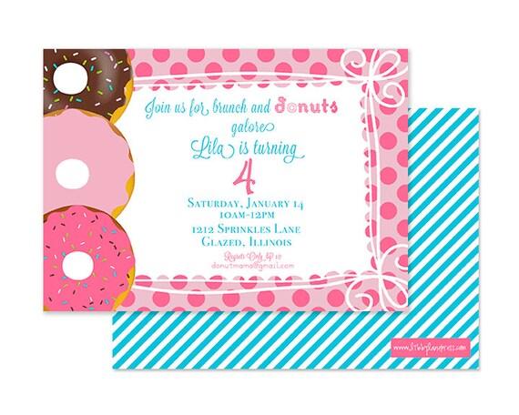 DONUTS & DOTS Invitation, Girls Birthday, Digital or Professionally Printed Invitation