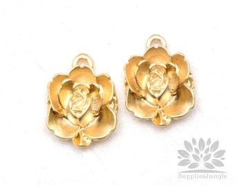 P504-MG// Matt Gold Plated Flower Pendant, 4 pcs