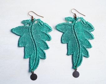 Leaf Lace Earrings in Teal Green