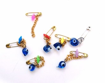 small safety pins with glass evil eye amulet charm destash jewelry lot 6 glass eyes lot 85
