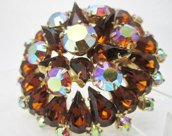 Rhinestone Pin Brown Topaz Aurora Borealis Vintage Brooch Tiered Construction Fashion Jewelry