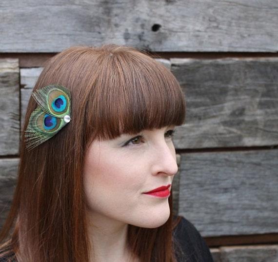 Small Peacock  Feather Fascinator hair clip