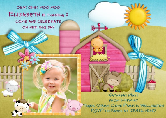 Farm Girl Birthday Invitation Barnyard Birthday Party Invite