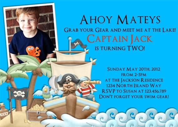 Pirate Ship Boy Birthday Invitation