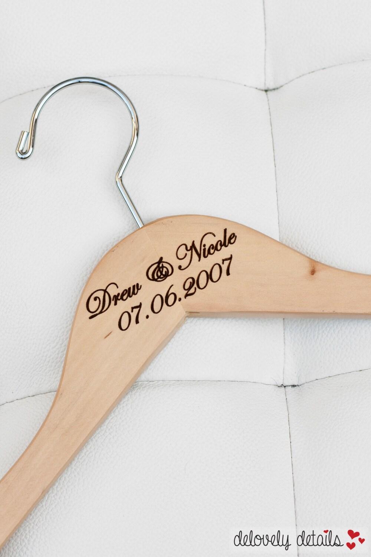 1 personalized bridal hanger engraved wood for Custom hangers for wedding dress